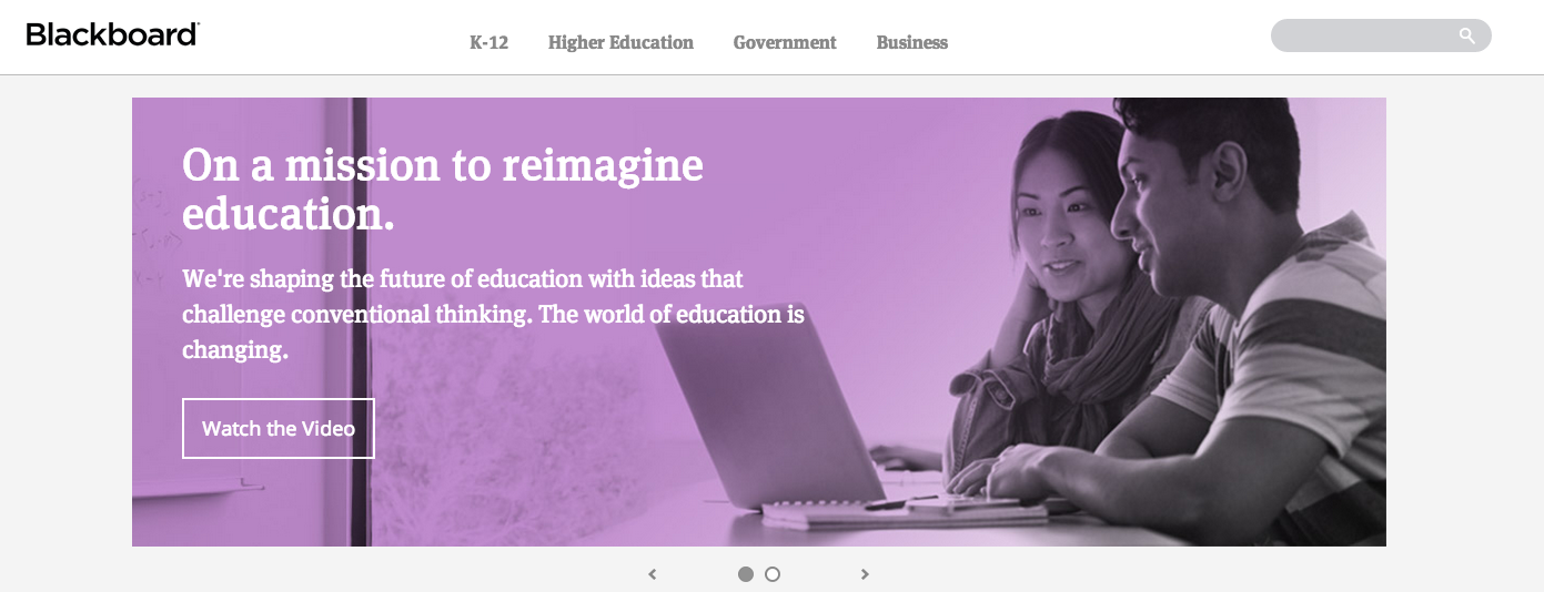 Screenshot of Blackboard's landing page, taken Jan. 11, 2014.
